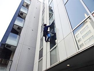 高所窓ガラス洗浄